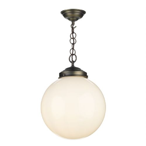 Fairfax 1 Light Pendant Antique Brass + Opal Glass FAI0172 (7-10 day Delivery)